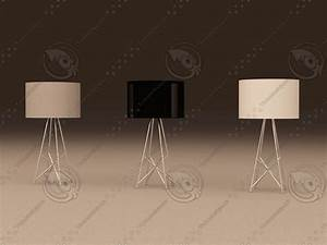 3ds max flos t table lamp With ray t table lamp