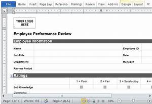 employee performance review form for word With one on one performance review template