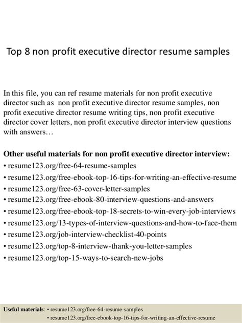 top 8 non profit executive director resume sles
