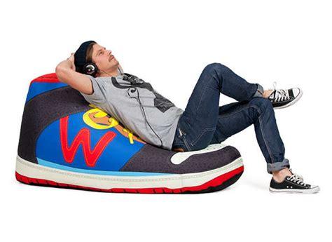 oversized shoe seating woouf sneaker bean bag