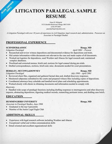 Litigation Support Resume by Litigation Paralegal Resume Sle Resumecompanion