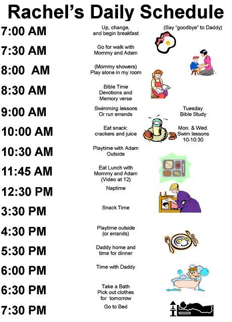 plan daily schedule home schedule for children printable daily routine