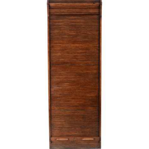 american oak file cabinet with roll top door from