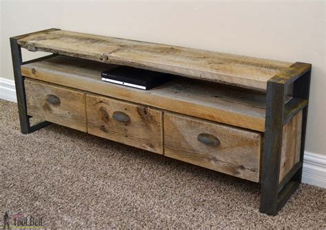 metal table legs rustic media console table tool belt