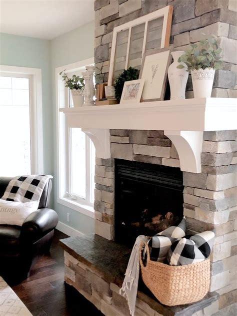 farmhouse mantel decor valley birch home fireplace