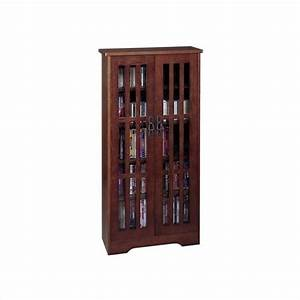 48quot tall cd dvd wall media storage cabinet in walnut m 371w With 48 inch media cabinet