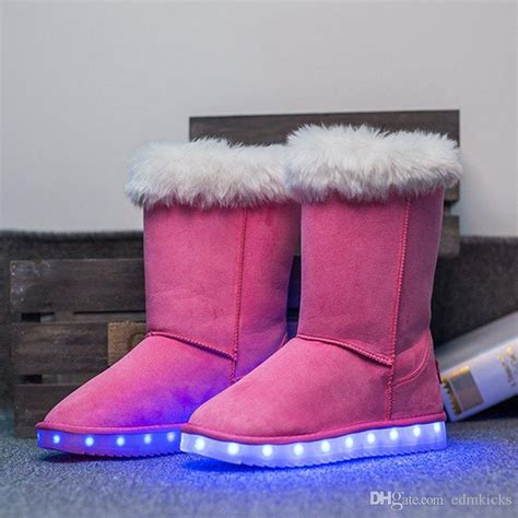 light up boots for girls suede leather snow boots led light up shoes usb charging