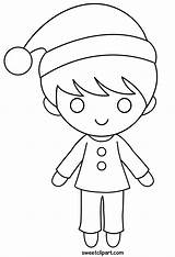 Boy Coloring Christmas Clip Sweetclipart sketch template