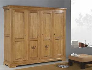 Armoire Bois Massif Porte Coulissante : armoire 4 portes marcillac meubles turone ~ Teatrodelosmanantiales.com Idées de Décoration