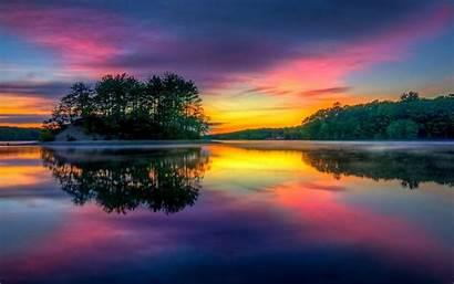 Colorful Nature Landscape Sunrise Island Water Lake