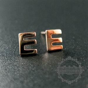 5x6mm letter e initial alphabet rose gold plated solid 925 With rose gold letter earrings