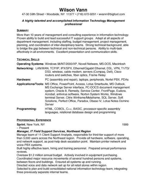 Technology Director Resume by Management Free Resumes