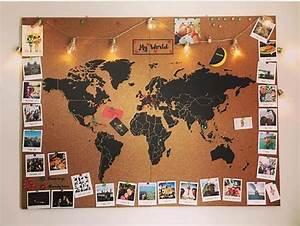 Carte Du Monde En Lige Pour Accrocher Des Photos De Nos