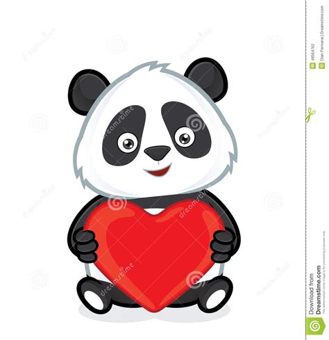 panda holding heart love stock vector illustration