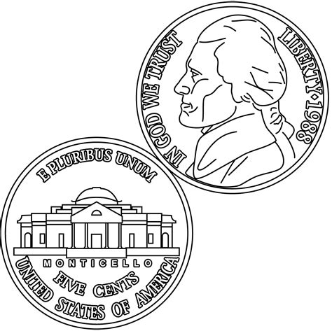 coin coloring pages clip dime front coloring page abcteach