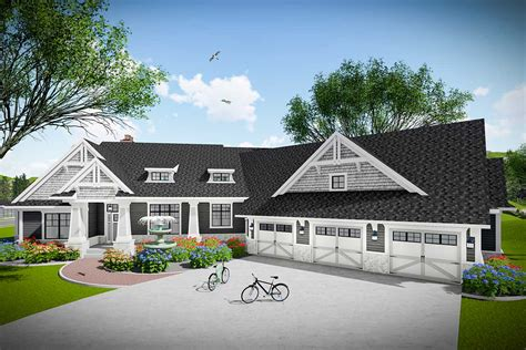 bed modern farmhouse ranch  angled  car garage ah architectural designs house