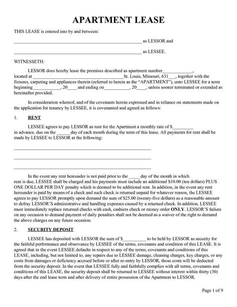 printable sle rental lease form real estate forms