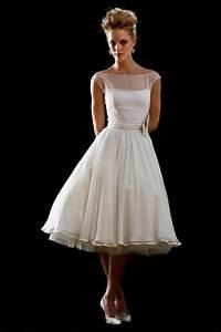 retro modest 50s 60s short tea length wedding dress jojo With retro 50 s wedding dresses