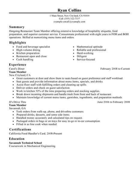 best restaurant team member resume exle livecareer