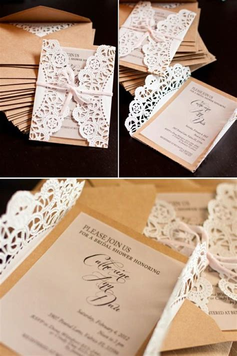 diy unique vintage wedding invitations lace wedding