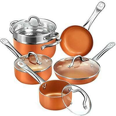 rcs tech real copper infused ceramic coating  pieces cookware set copper ebay