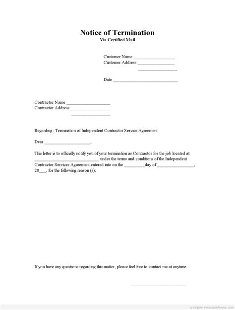 Free Printable Notice Of Termination Form (PDF & WORD)