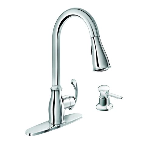 robinet de cuisine moen shop moen kipton chrome 1 handle deck mount pull