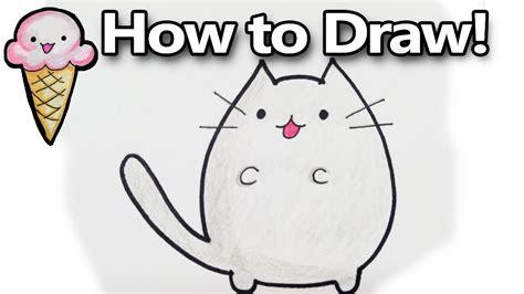 draw pusheen  cute kawaii cat cartoon drawing