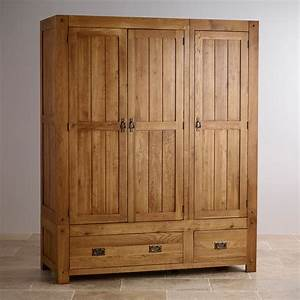 Quercus Triple Wardrobe Rustic Oak Oak Furniture Land