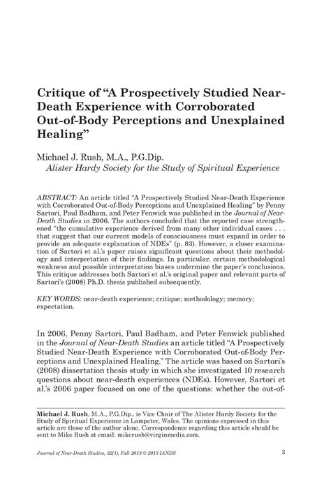 critique   prospectively studied  death experience  corroborated   body