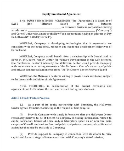 investment contract templates word apple pages