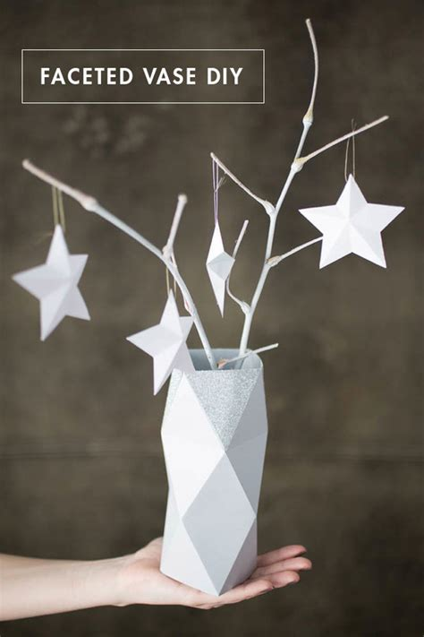 faceted paper vase  template curbly