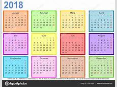Calendario 2018 cada mes diferentes colores cuadrado Ger