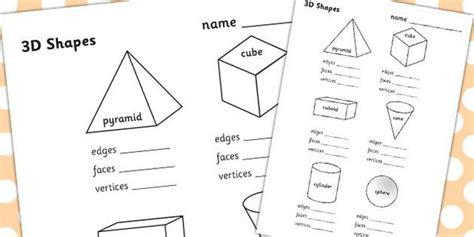 3d shape properties worksheets 3d shapes shape