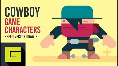 Speed Drawing How to draw Flat Game Character Cowboy