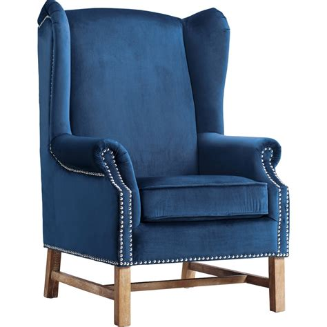tov furniture nora navy velvet wing chair w silver nailhead