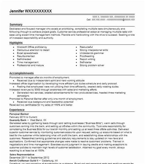 Personal Banker Objective by Personal Banker Resume Objectives Resume Sle Livecareer