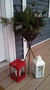 Winter, Entrance, Christmas, Greens, Candle, Lanterns