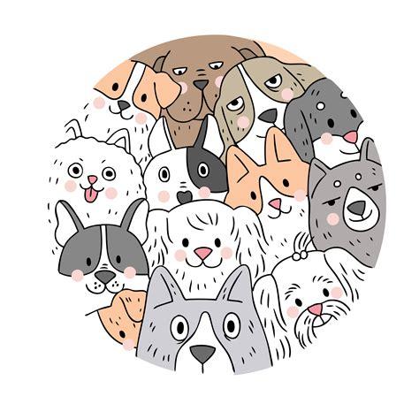 cartoon cute face dogs vector doodle circle frame