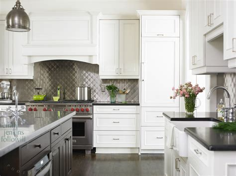 white kitchen with stainless steel backsplash quilted backsplash transitional kitchen emily 2106
