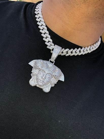 Cuban Iced Necklace Medusa Miami Pendant 14k
