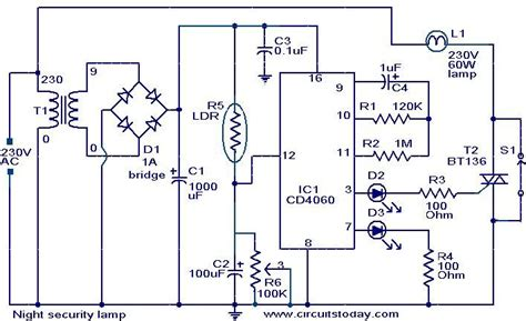 Night Security Light Electronic Circuits Diagram