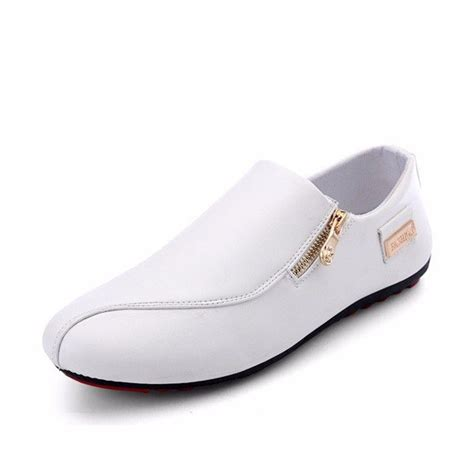 men side zipper british style flat slip  casual doug
