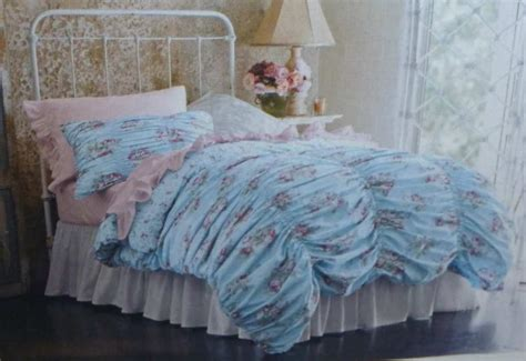 target shabby chic cabbage rachel ashwell simply shabby chic twin duvet cabbage rose ruched blue cottage ebay