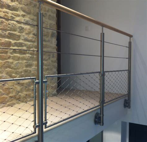 Garde Corps 2 cables et filet partie basse   Stairs