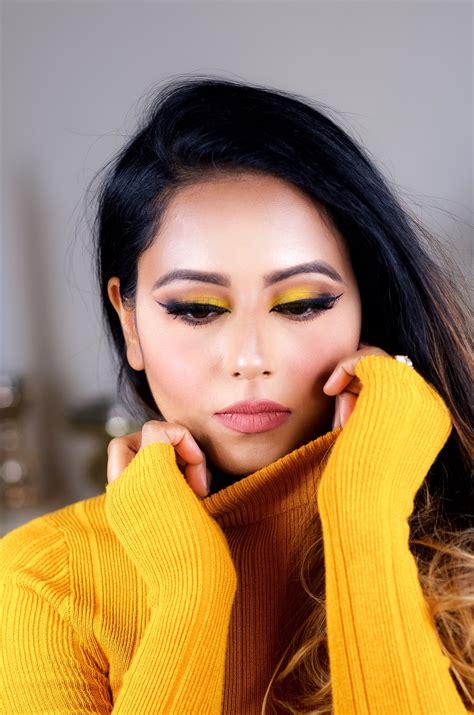 fall chrome yellow makeup  indian bridal makeup boston
