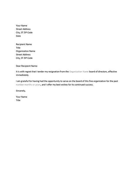 Example letter of resignation of a an officeholder australia