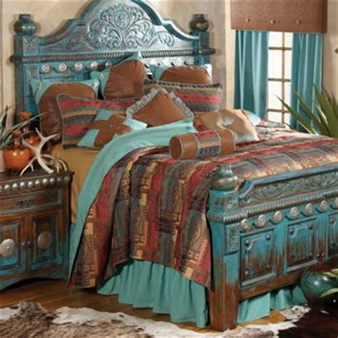 cowgirl bedroom decor southwest style turquoise bed with conchos 11317