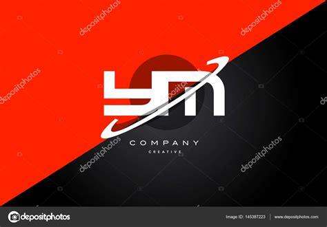 Ym Y M Rouge Noir Technologie Alphabet Compagnie Lettre