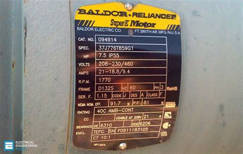 Electric Motor Information motor nameplate is normally located on all produced